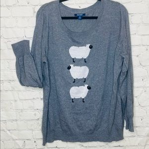 Old Navy grey sweater with three sheep graphic